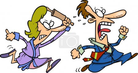 Cartoon Woman with a Rolling Pin Chasing a Man