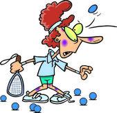 Cartoon Woman Racquetball