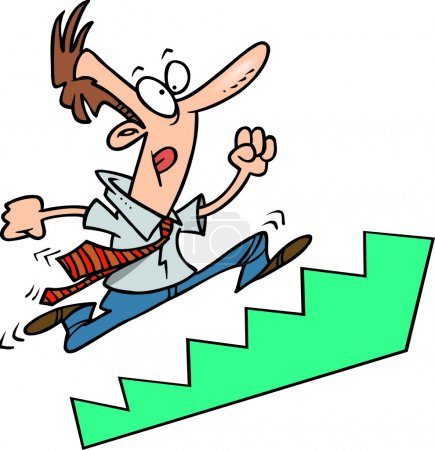 Cartoon Businessman Running Up Stairs