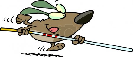 Cartoon Dog Pole Vaulter