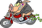 Cartoon Pig Riding a Hog