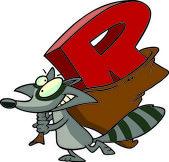 Cartoon Raccoon Alphabet Letter R