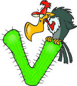 Cartoon Vulture Alphabet Letter V