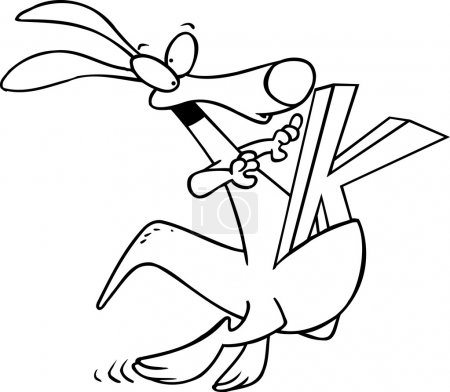 Cartoon Kangaroo Alphabet Letter K