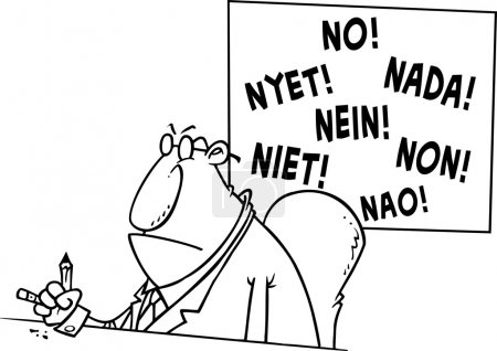 Cartoon Businessman Saying No