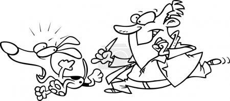 Cartoon Veterinarian Chasing Dog