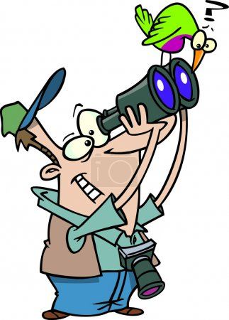 Illustration for A cartoon bird watcher man with camera and binoculars - Royalty Free Image