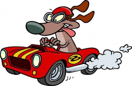 Cartoon hot rod dog