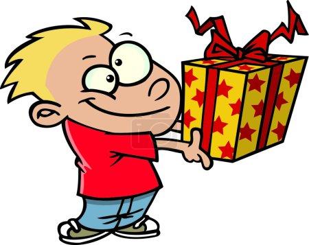 Cartoon Boy Giving a Gift