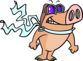 A cartoon pig wearing aviator goggles and a scarf