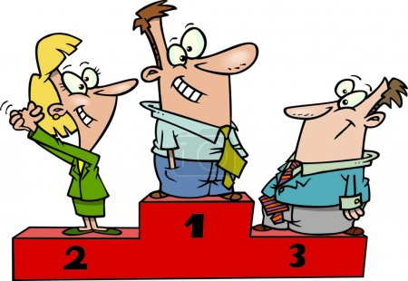 Illustration pour Un ensemble de professionnels de la bande dessinée debout sur un podium des prix - image libre de droit