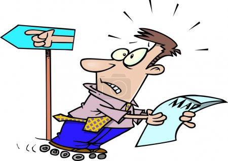 Cartoon Man Going the Wrong Way