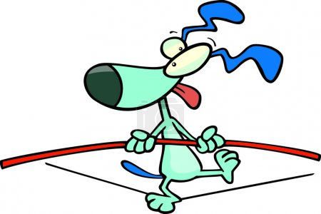 Illustration for A cartoon dog walking a tightrope - Royalty Free Image
