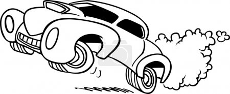 Illustration for Black and white line art illustration of a cartoon car drag racing - Royalty Free Image