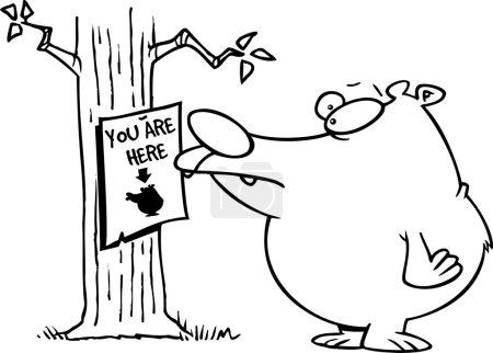 Illustration pour Ours de bande dessinée regardant un vous êtes ici signe - image libre de droit