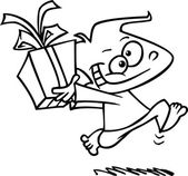 Black and white line art illustration of a happy cartoon boy running and carrying a present