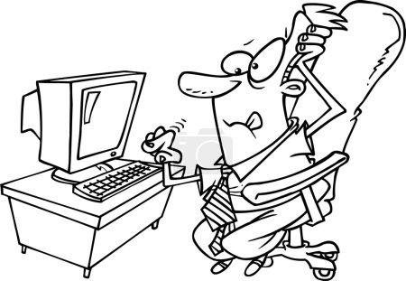 Cartoon Businessman Computer
