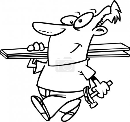 Cartoon fencer carrying planks
