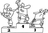 Cartoon podium of first second and third place business