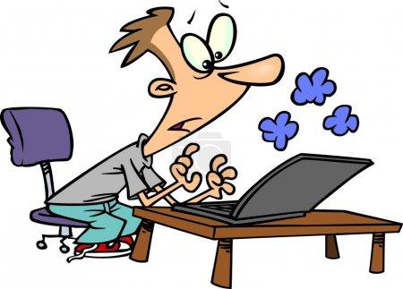 Cartoon a man using a smoking laptop