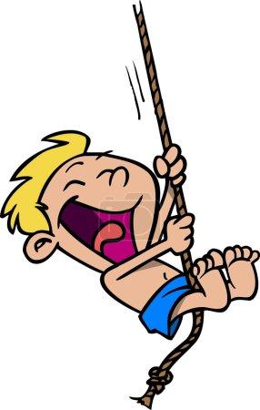 Cartoon Boy sur une corde balançoire