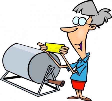 A cartoon woman reading out a winning raffle ticke...