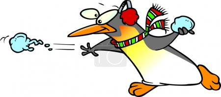 Illustration for Cartoon Penguin Snowball Fight - Royalty Free Image