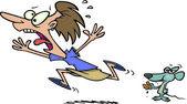 Cartoon Woman Afraid of Mouse