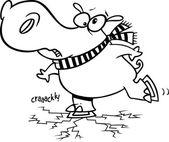 Cartoon Hippo Ice Skater