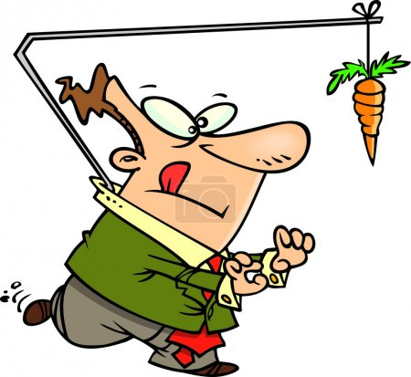 Cartoon Man Chasing a Carrot on a Stick