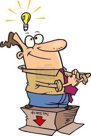 Cartoon Man Thinking Outside the Box