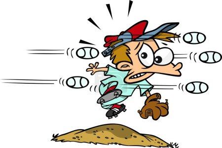 Cartoon Boy Baseball Pitcher
