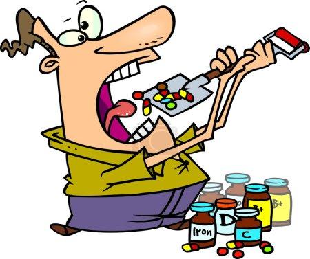 Cartoon Man Taking Vitamins