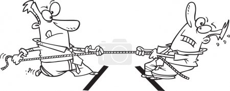 Cartoon Business Tug of War