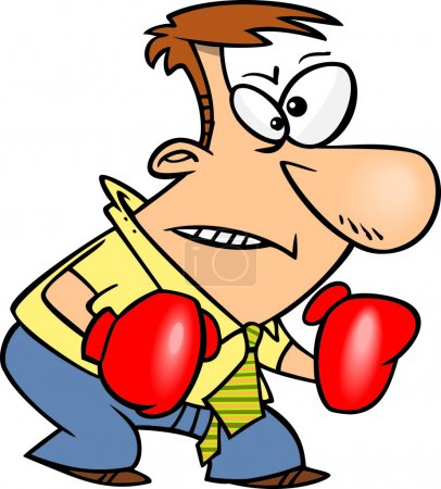 Cartoon Businessman with Boxing Gloves