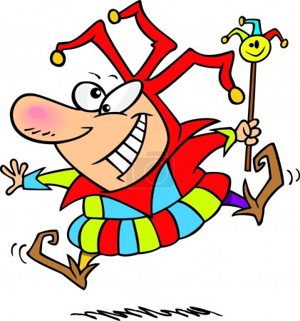 Illustration for A cartoon jester jumping and dancing - Royalty Free Image