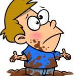 A dirty cartoon boy covered in mud...