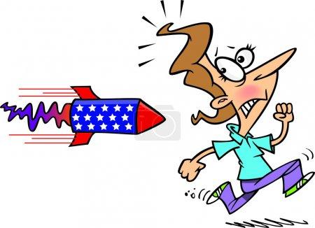 Cartoon Woman Running Away From Rocket