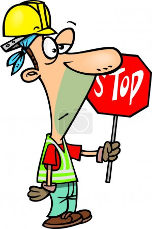 Cartoon Construction Stop Sign