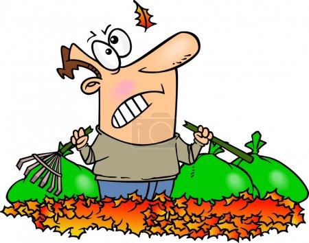 Illustration pour Un homme de dessin animé ratissant des feuilles comme une autre feuille tombe du ciel - image libre de droit