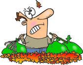 Karikatura člověka, hrabání listí