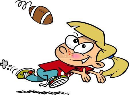 Cartoon Girl Catching Football