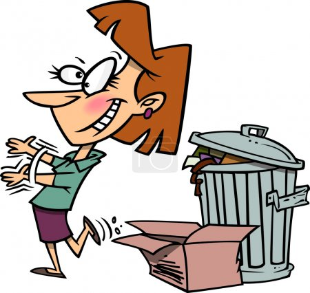Illustration for A cartoon woman throwing away boxes of old stuff in the trash - Royalty Free Image