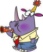 Cartoon New Years Rhino