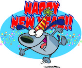 Cartoon New Years Dog