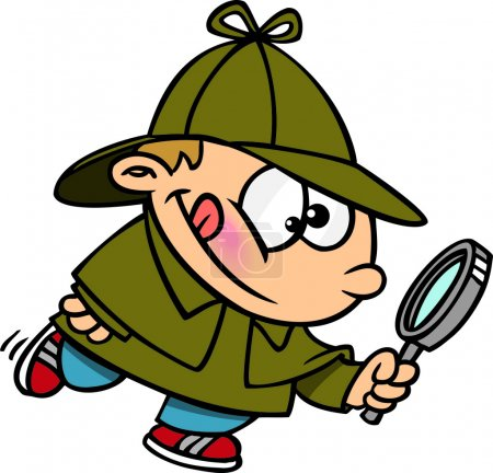 Illustration for A young cartoon boy detective holding a magnifying glass - Royalty Free Image