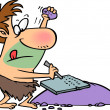 A cartoon caveman writing on a stone tablet with a rock and chisel