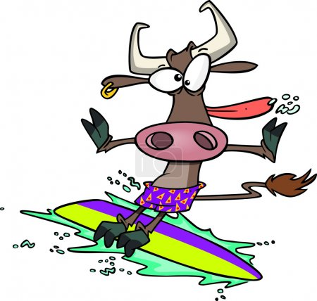 Cartoon Cow Surfer