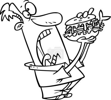 Illustration pour Illustration en noir et blanc d'un dessinateur se préparant à manger un gros sandwich - image libre de droit