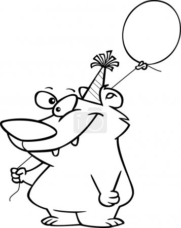 Illustration for Black and white line art illustration of a cartoon bear wearing a birthday party hat and holding a balloon - Royalty Free Image